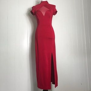 Vintage Tadashi - Red High Neck Mesh Midi Dress S